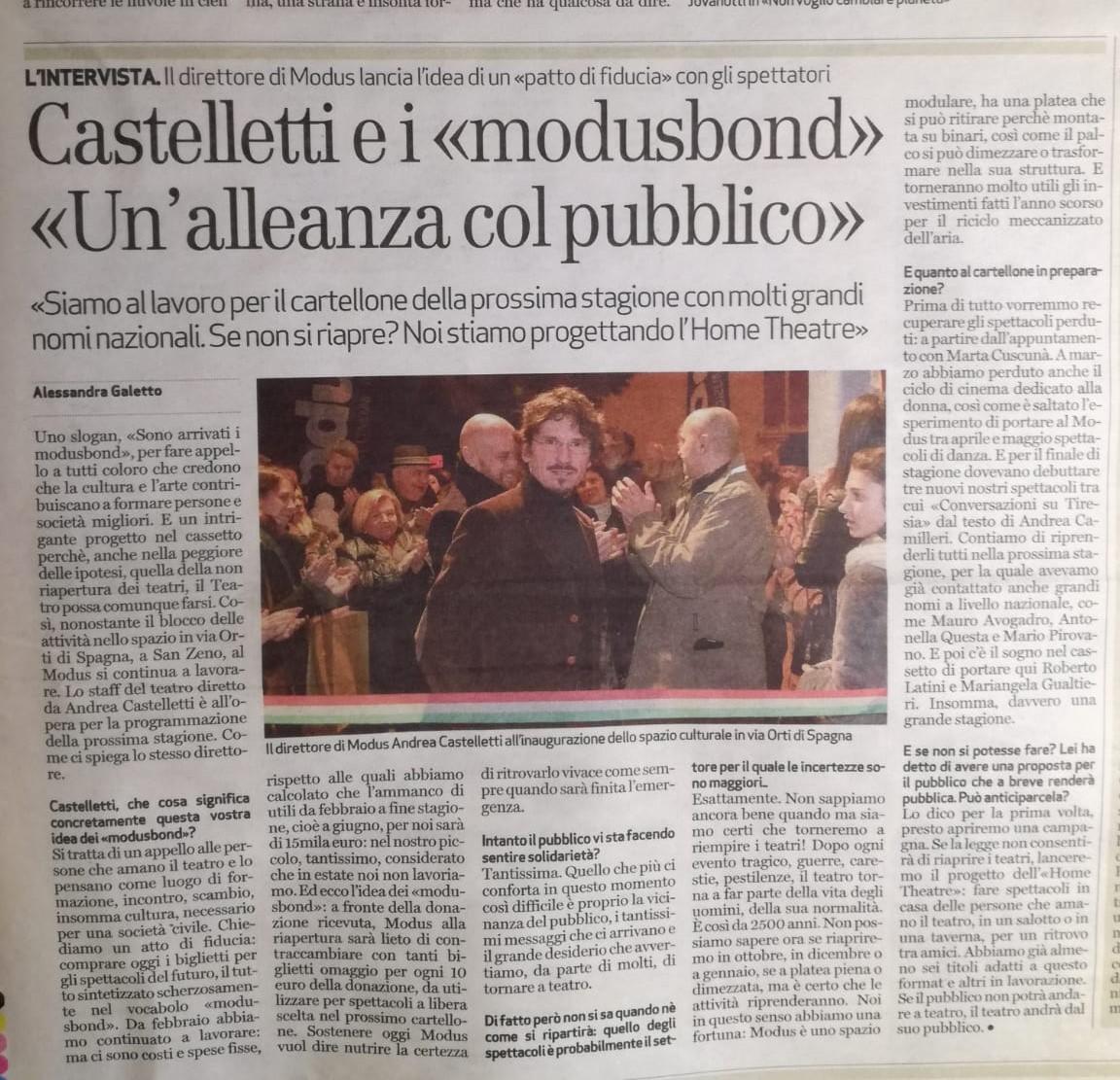 Articolo L Arena Andrea Castelletti Modusbond Teatro Modus Verona